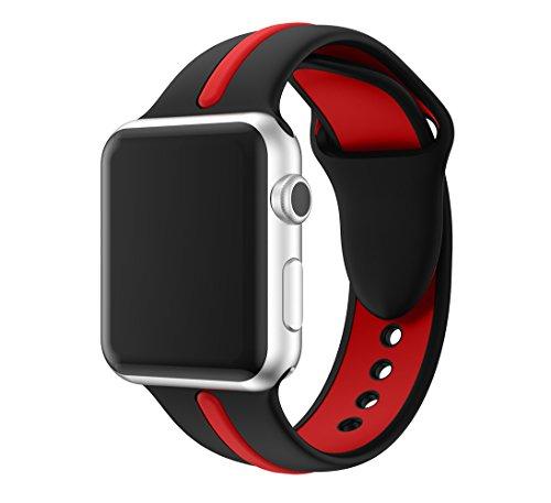 Kartice Apple Watch Nike +/Apple Watch/Apple Watch Series 2 バンド ソフトシリコンバンド スポーツバンド シリコンアダプター付き (38mm, 黒+赤1)