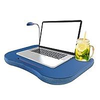 Lapデスク、ポータブルトレイwithフォームクッション、調節可能LEDデスクライトノートパソコン、CupホルダーbyノートパソコンBuddy (ブルー)