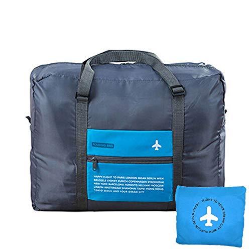 UACEN 青色 キャリーオンバッグ 折りたたみ ボストンバッグ 旅行 便利グッズ 32L大容量 バッグ 超軽量 コンパクト 機内持ち込み トラベルバッグ 収納ポーチ付 おしゃれ バッグオンバッグ ボストン