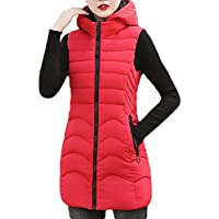 Women Casual Hooded Coat Zipper Up Thickened Warm Sleeveless Down Vest Jacket with Pocket