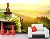 Bzbhart 3D壁画、ワイン用ブドウ樽食品壁紙、カフェウォールバーレストランキッチンダイニングルームテレビ壁の背景-400cmx280cm