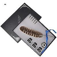 レトロ羽ペン フェザーペン サインペン 5つの交換用ペン先付き 書道 署名ペン プレゼント 贈り物(004)