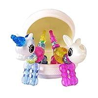 女の子 ビーズ キット アクセサリー 魔法のブレスレット ネックレス ペット カラフルビーズ DIYブレスレット ビーズ ブレスレットtwist pets, ブレスレット、ネックレス、またはかわいい動物の形にねじれて作ることができます。 知育玩具(2pack) (ユニコーン ウサギ)