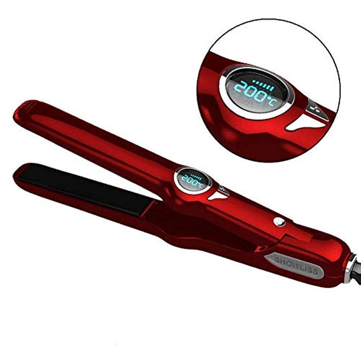 かみそりリズミカルな悪質なカールストレートヘアスタイリングLCDモニタ炭化物セラミックカールパーマロッド b1121 (Color : Red, Size : -)