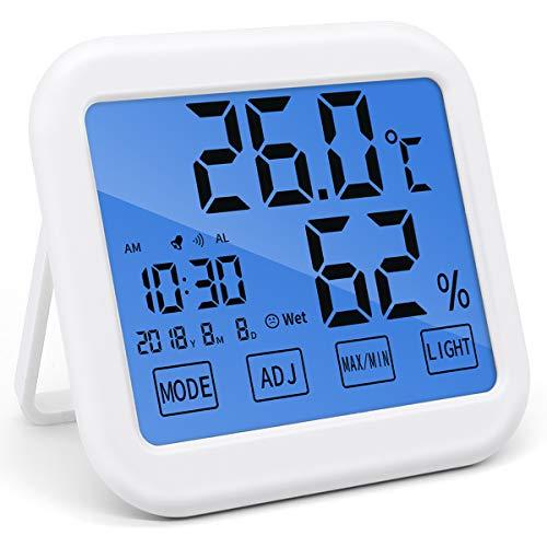 BESONデジタル温湿度計 LCD大画面 目覚まし時計 時間・日付け・最高最低温湿度表示 置き/掛け/マグネット吸着 タッチ式