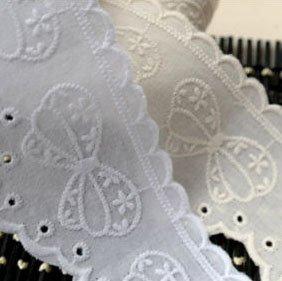 14ヤード刺繍コットンアイレットレーストリム5cm YH1488(並行輸入品) (ホワイト)
