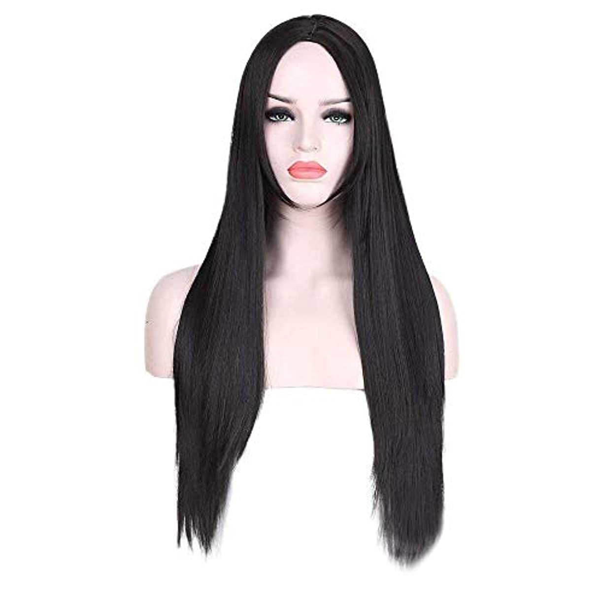 虫笑い飲み込むWASAIO スタイル交換用ウィッグブラックロングストレートヘアアクセサリーミドルパート女性耐熱繊維 (色 : 黒)