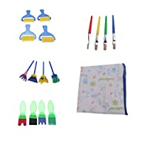 Sharplace 画材筆 子供用 塗装 幼児 絵画 パレット 子供水彩画 全2セット - スタイル2