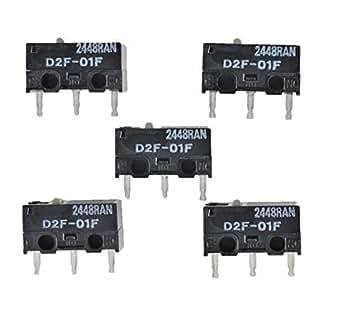 オムロン (OMRON) 純正 マイクロスイッチ ピン押ボタン形 プリント基板用端子 微小負荷 定格0.1A 5個セット D2F-01F