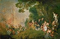 Antoine Watteau ジクレープリント キャンバス 印刷 複製画 絵画 ポスター (キーファーへの巡礼) #XFB