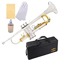 Glory Brass Bb Trumpet with Pro Case +Care Kit White More COLORS Available ! CLICK on LISTING to SEE All Colors [並行輸入品]