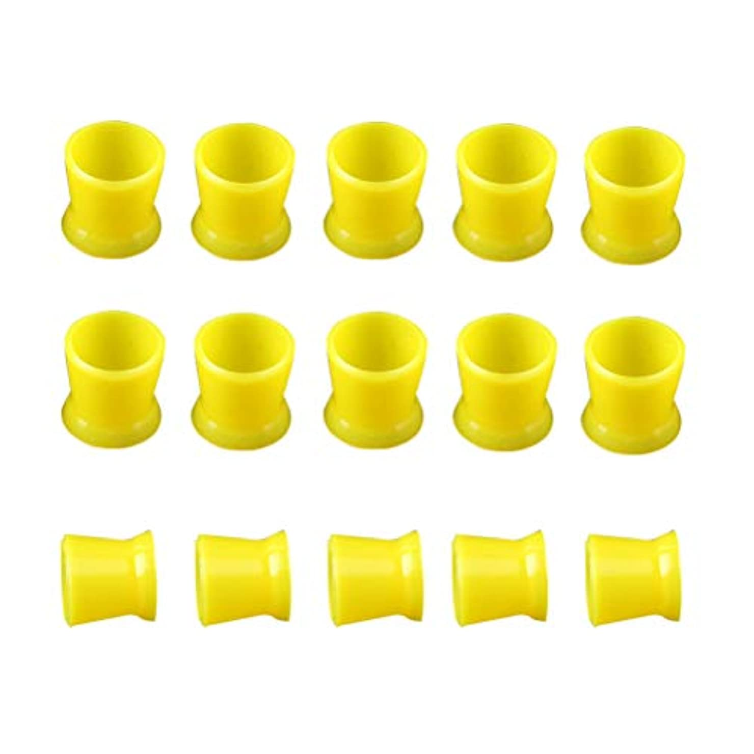 ウェイトレスアパート保証Healifty 300PCSシリコーンタトゥーインクカップ使い捨てマイクロブリーディングピグメントキャップホルダーコンテナ永久的なまつげメイクアップ眉(イエロー)