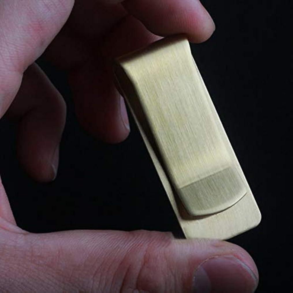 里親身元伝統的厚い真鍮銅マネークリップクラシックキャッシュホルダーマネークリップビジネスペーパークリップ厚いEdcコインホルダー-ゴールド