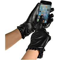 WUXiaodanDan Women's fashion cycling gloves driving gloves warm plus velvet gloves touch screen leather gloves