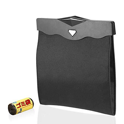 車用ゴミ箱 車の収納バッグ シートバック ゴミ箱 GenkiAuto 車載ゴミ袋 オックスフォード 高品質 LED付け 抗菌防臭 大容量 車内環境改善出来 収納 取り付け簡単 コンパクト 新年 誕生日のプレゼント ブラック