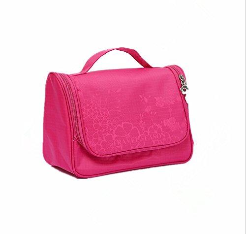 INANA 旅行用ポーチ メイク 化粧用ポーチ コスメバッグ つり下げ可能 大容量 超軽量 機能的  雑貨 小物入れ 持ち運び便利  (ローズ)