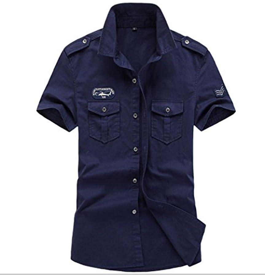 ハプニング命令強化メンズ半 袖 ファッションシャツ ボタン トップスTシャツスタイル スリム カジュアル シンプル3カラー (ネイビー, XXL)
