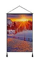 ホーム 壁掛けの装飾 アートキャンバス ポスター (50x75cm) 冬、山、樹木、雪、日没