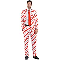 Men's Candy Cane Christmas Suit Separates - Blazer with Tie and Pants Sold Separately