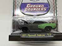 M2 Machines by M2 Collectible Ground Pounders 1971 Plymouth Cuda 440 1:64 スケール R12 14-05 マットブラック/グリーンのディテール。