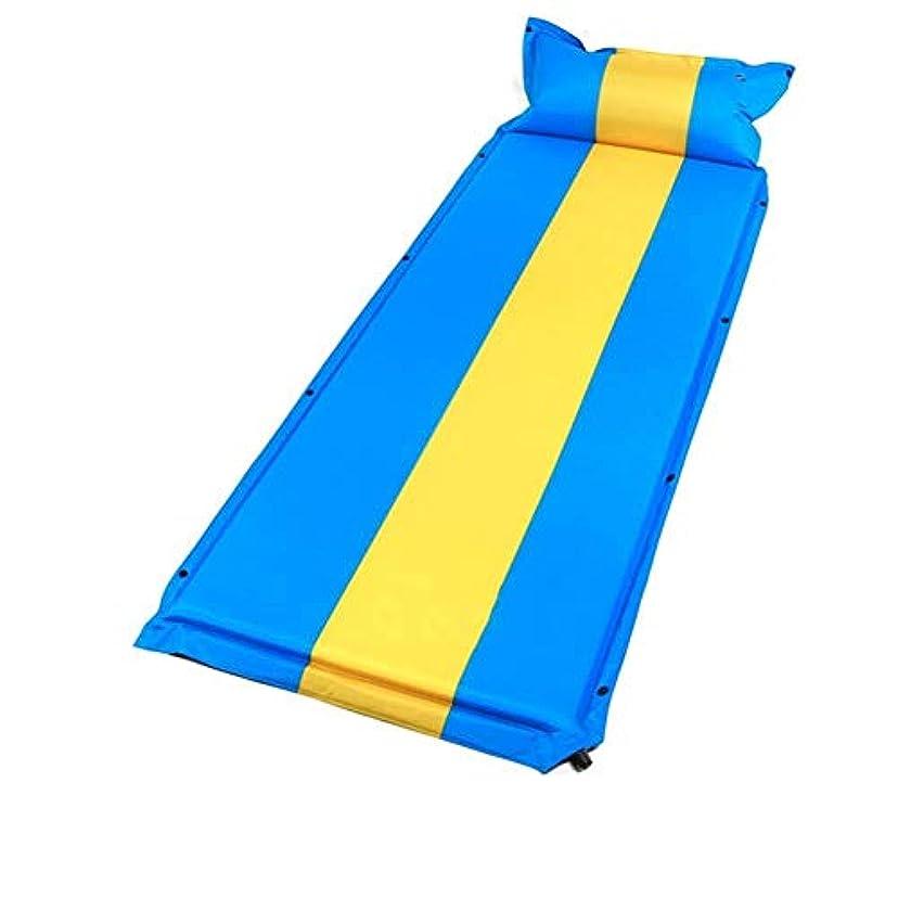 建築歴史家パターン自己膨脹可能なスリーピングマット付き枕キャンプマットレス軽量スリーピングパッド屋外ロールマットインフレータブルエアベッド用ビーチ (色 : 青, サイズ さいず : L l)