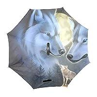 逆折り式傘 C型手元 長傘 濡れない 二重張り 自動開き 片手 車用傘 リバース傘 自立可能 耐風 撥水 完全遮光 遮熱 UVカット 晴雨兼用 男女兼用 狼