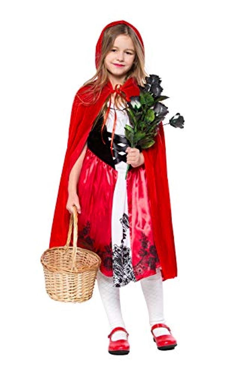 詳細に牧草地受信機S&C Live ハロウィンコスチューム キッズコスチューム変身なりきり 赤ずきんコスプレ衣装2点セット 子供 キッズ 女の子向き 超かわいい 赤ずきんワンピース ロロング 帽子付マント レッド 赤#180221 (L)