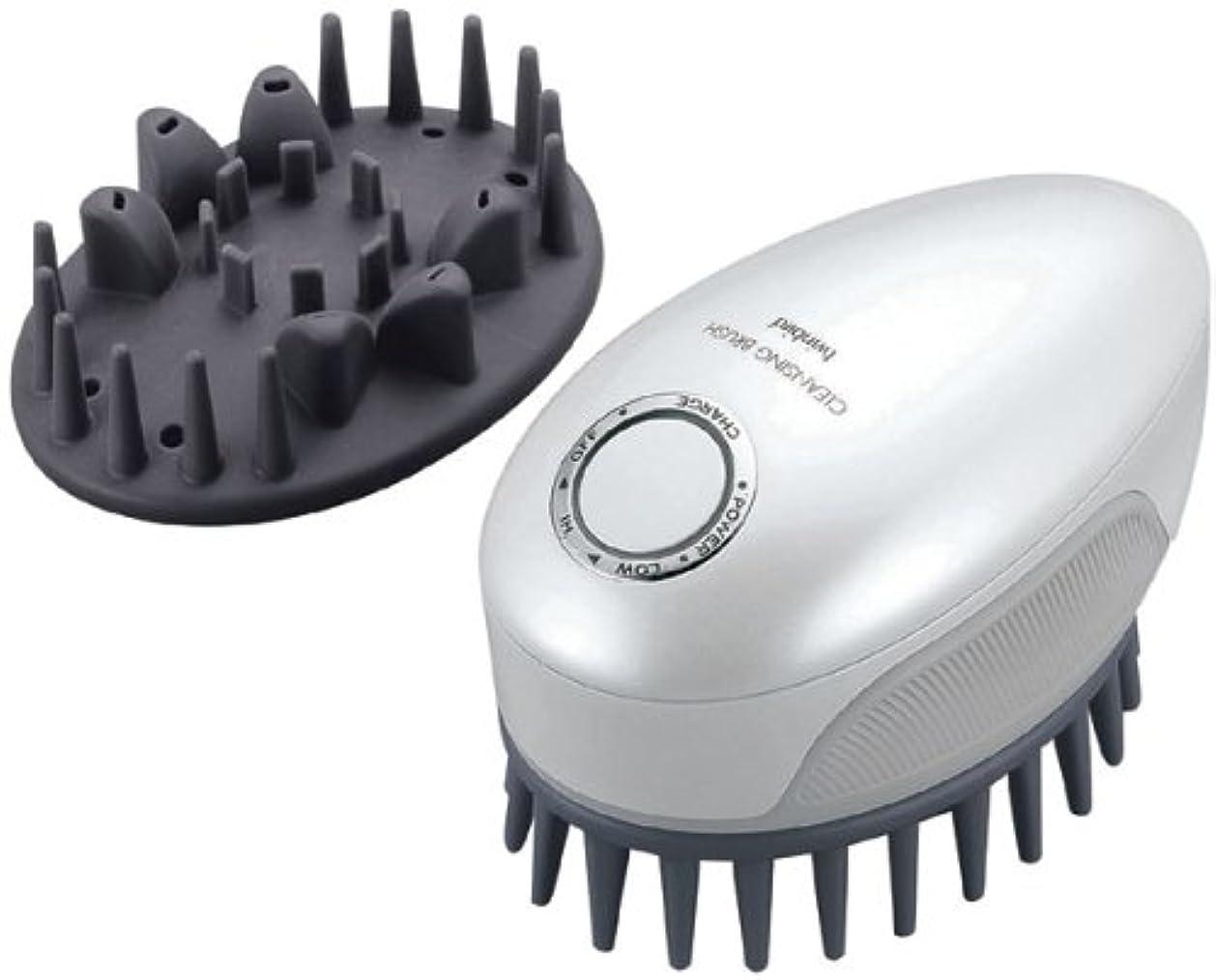 皿形スケッチTWINBIRD 頭皮洗浄ブラシ モミダッシュ PRO パールホワイト SH-2793PW