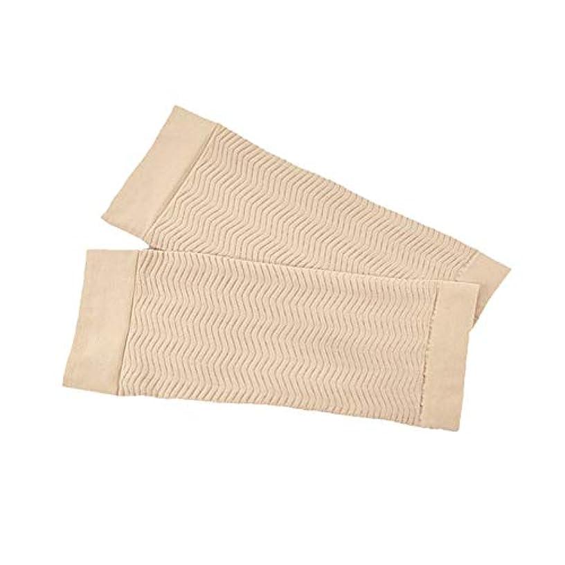 ハイブリッド警報アクティビティ1ペア680 D圧縮アームシェイパーワークアウトトーニングバーンセルライトスリミングアームスリーブ脂肪燃焼半袖用女性 - スキンカラー