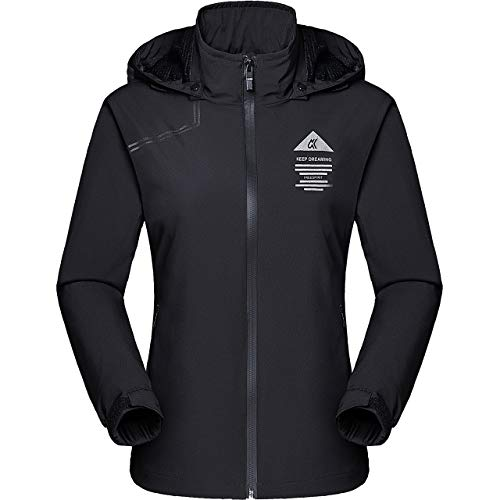 [TACVASEN] アウトドアウェア 多機能 ライトジャケット 撥水 ウィンドブレーカー 軽量 登山ジャケット レディース 防寒着 ブラック 2XL