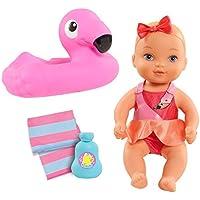 Waterbabies Bathtime Funベビー人形浮き、再生ボトルシャンプー、とタオル – Flamingo