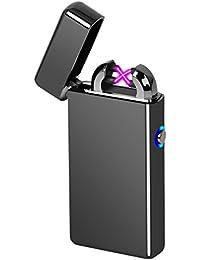 電子ライター  プラズマライター  USB充電式 ダブルアークライター 熱線ライター 防風 ガス オイル不要 誕生日ギフト 父の日ギフト 彼氏 へプレゼント おしゃれ(ブラック)