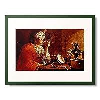 Franzosischer Maler,Ende 17.Jahrh. 「Pfeiferauchender junger Mann.」 額装アート作品
