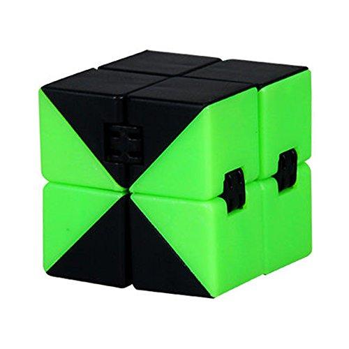 Liebeye キューブ 創造的な折りたたみ可能 無限に変化するキューブ おもちゃ ストレス 不安軽減剤 子供 フィジェットキューブ ギフト アダルト Cube グリーン