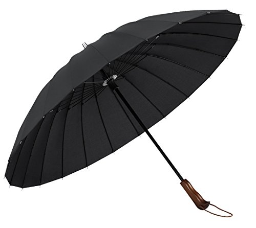PLEMO 長傘 高強度24本傘骨 新強化グラスファイバー採用 梅雨対策 耐風傘 撥水加工 ブラック