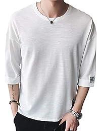 [Nexeed] メンズ Tシャツ メンズ 半袖 カットソー スラブボーダー 七分袖 五分袖