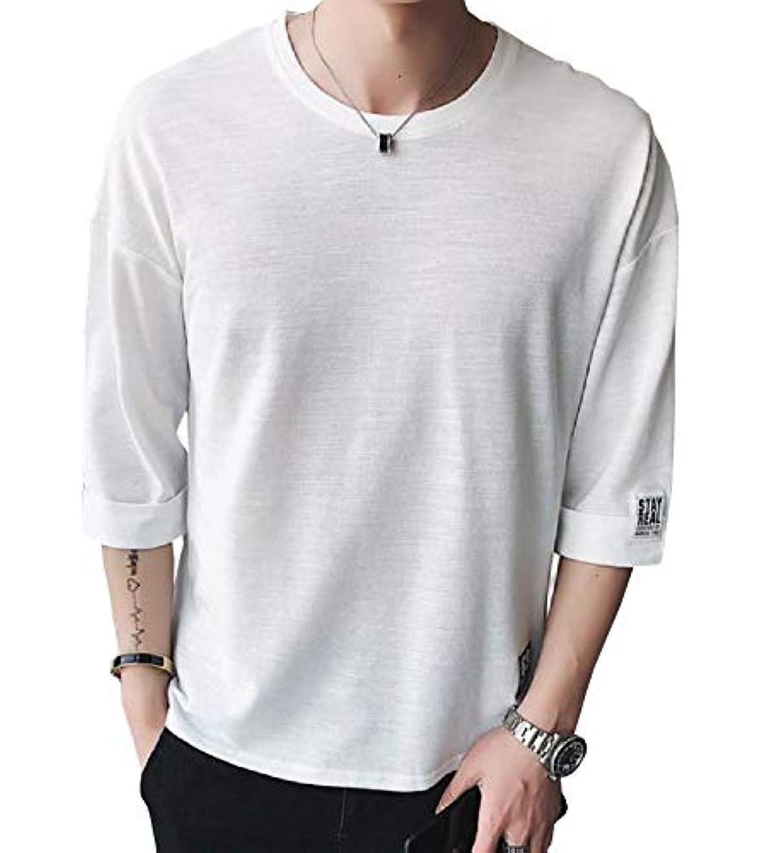 接地骨生息地[Nexeed] メンズ Tシャツ メンズ 半袖 カットソー スラブボーダー 七分袖 五分袖