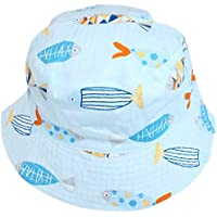Ruhi Boys Girls Reversible Cotton Fish Striped Bucket Sun Hat Age 1 to 6 with Chin Strap
