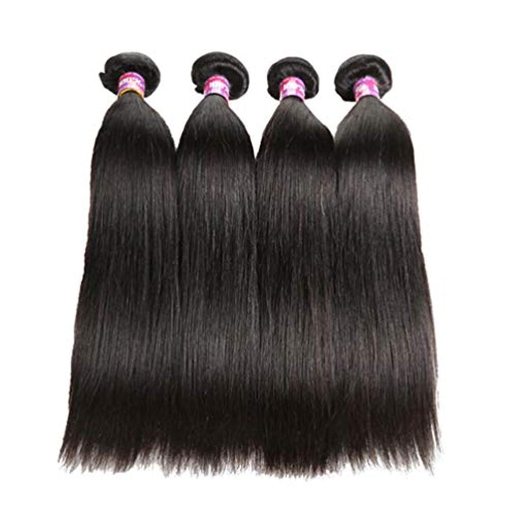 シャット貢献するユーザーブラジル人100%の人間の毛髪のまっすぐな実質のRemyの自然な毛は延長横糸の完全な頭部を織ります(3束)