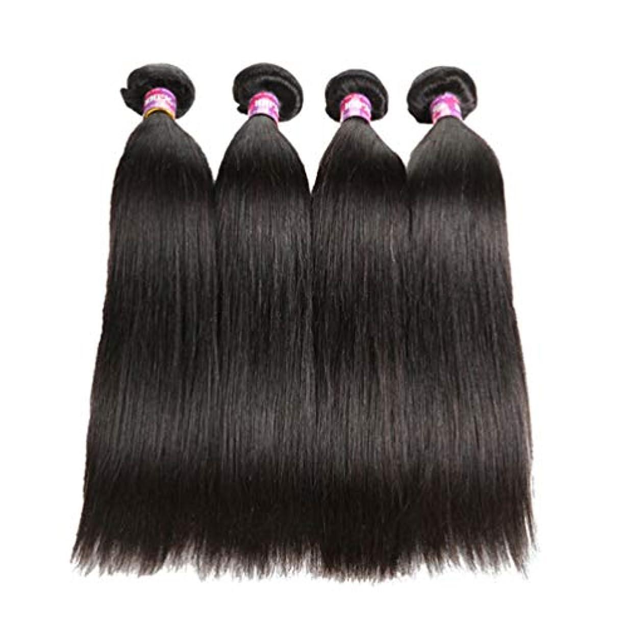 退却特権翻訳者ブラジル人100%の人間の毛髪のまっすぐな実質のRemyの自然な毛は延長横糸の完全な頭部を織ります(3束)