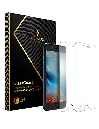 【2枚セット】Anker KARAPAX GlassGuard iPhone 8 Plus / 7 Plus用 強化ガラス液晶保護フィルム【3D Touch対応 / 硬度9H / 飛散防止】