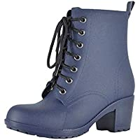 MEIGUIshop Rain Boots - Middle Tube high Heel Matte Martin Boots rain Boots