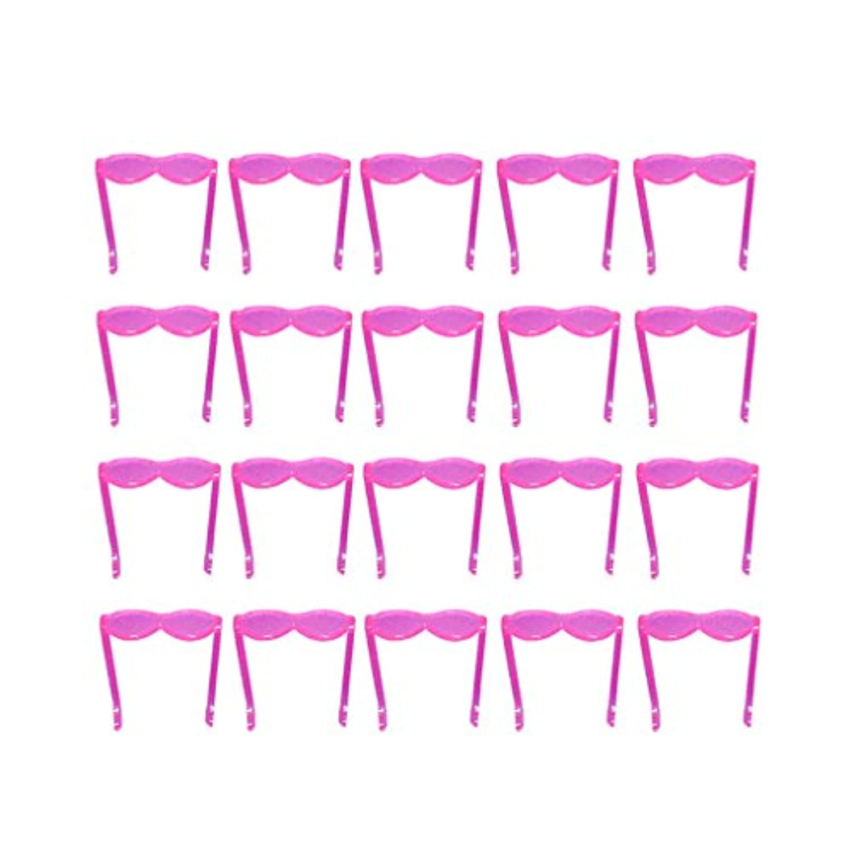 【ノーブランド品】着せ替え人形 女の子用 メガネ (ピンク) 20個セット