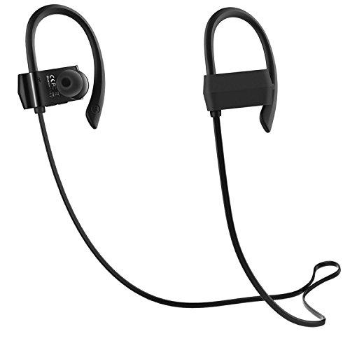 Bluetooth イヤホン 高音質,防汗防滴 スポーツ仕様 外れにくい Bluetooth ヘッドホン ハンズフリー通話 CVC6.0ノイズキャンセリング ワイヤレス イヤホン [国内正規品 / 1年保証付] G18 ブラック