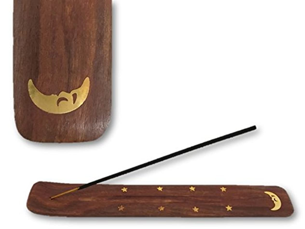 鉛筆震えヒールお香スティック:平型 お香立て/ムーン/10インチ/シーシャムウッド/ハンドメイド