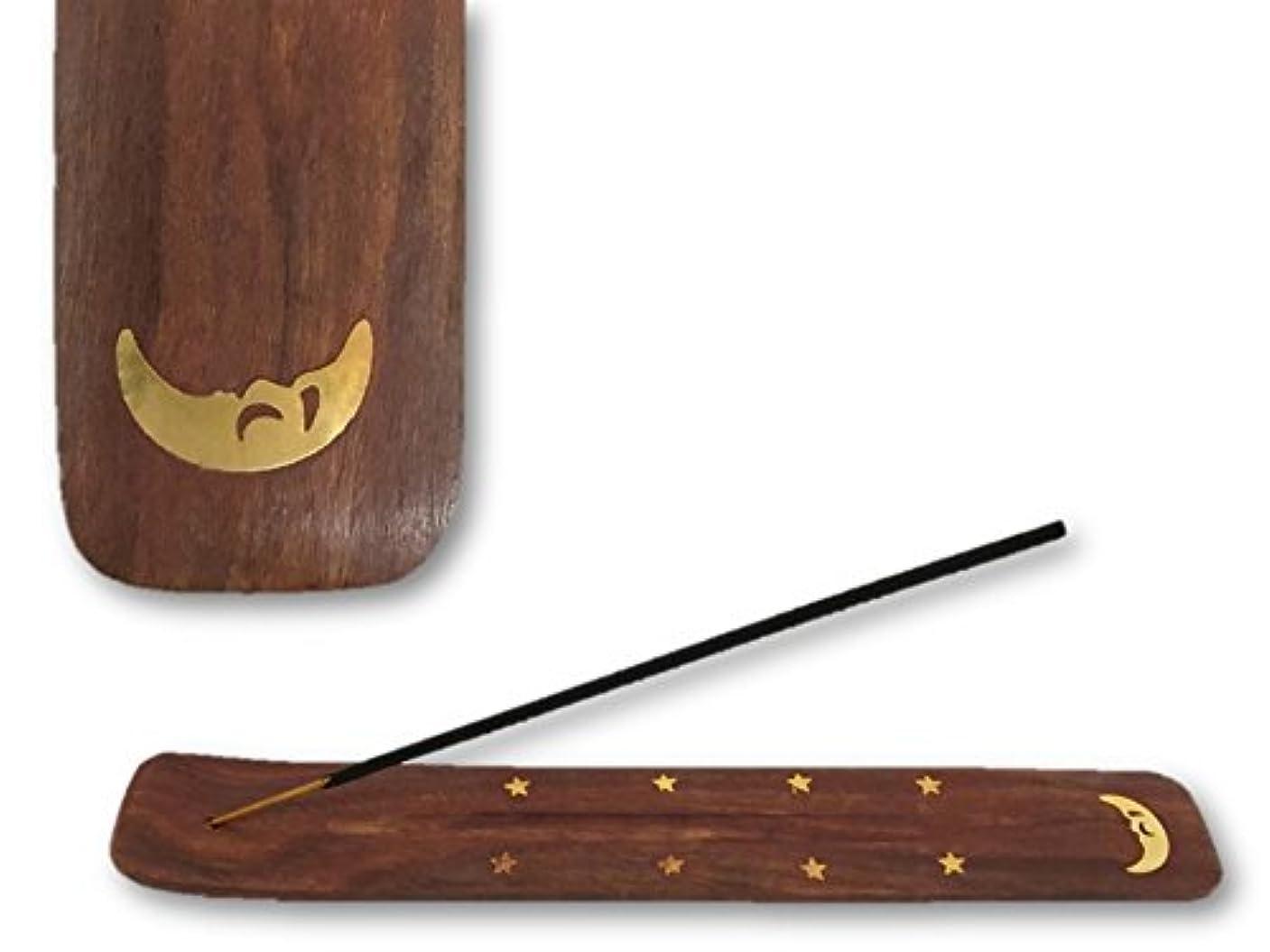 ディレイ取り除く連結するお香スティック:平型 お香立て/ムーン/10インチ/シーシャムウッド/ハンドメイド