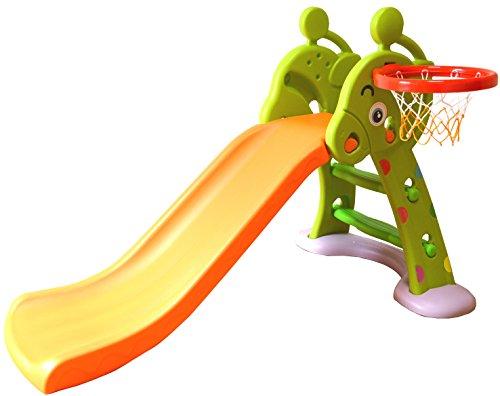 MAMENCHI バスケットゴール 拡張ロングタイプ キリン 安定補強板付滑り台(安定性抜群!) オレンジグリーン