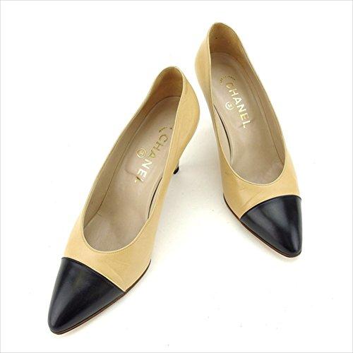 [シャネル] パンプス シューズ 靴 ベージュ×ブラック ♯36 ポインテッドトゥ バイカラー レディース 中古 L963