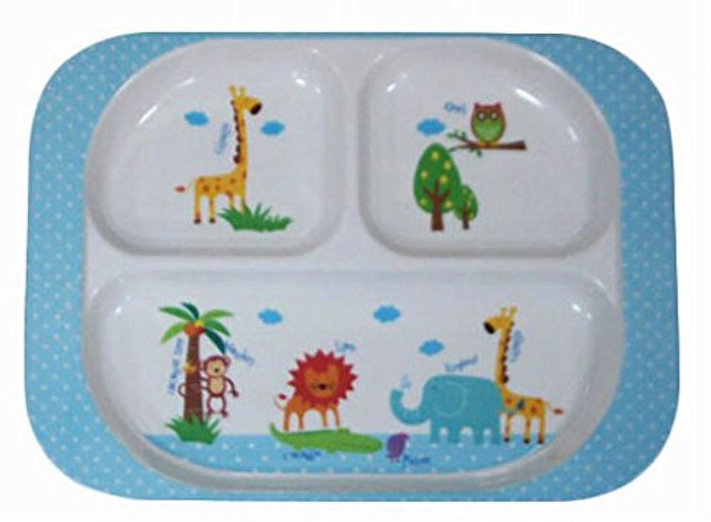 実用的なベビー食べるプレート子供の食器かわいいポイントトレイ、ブルー
