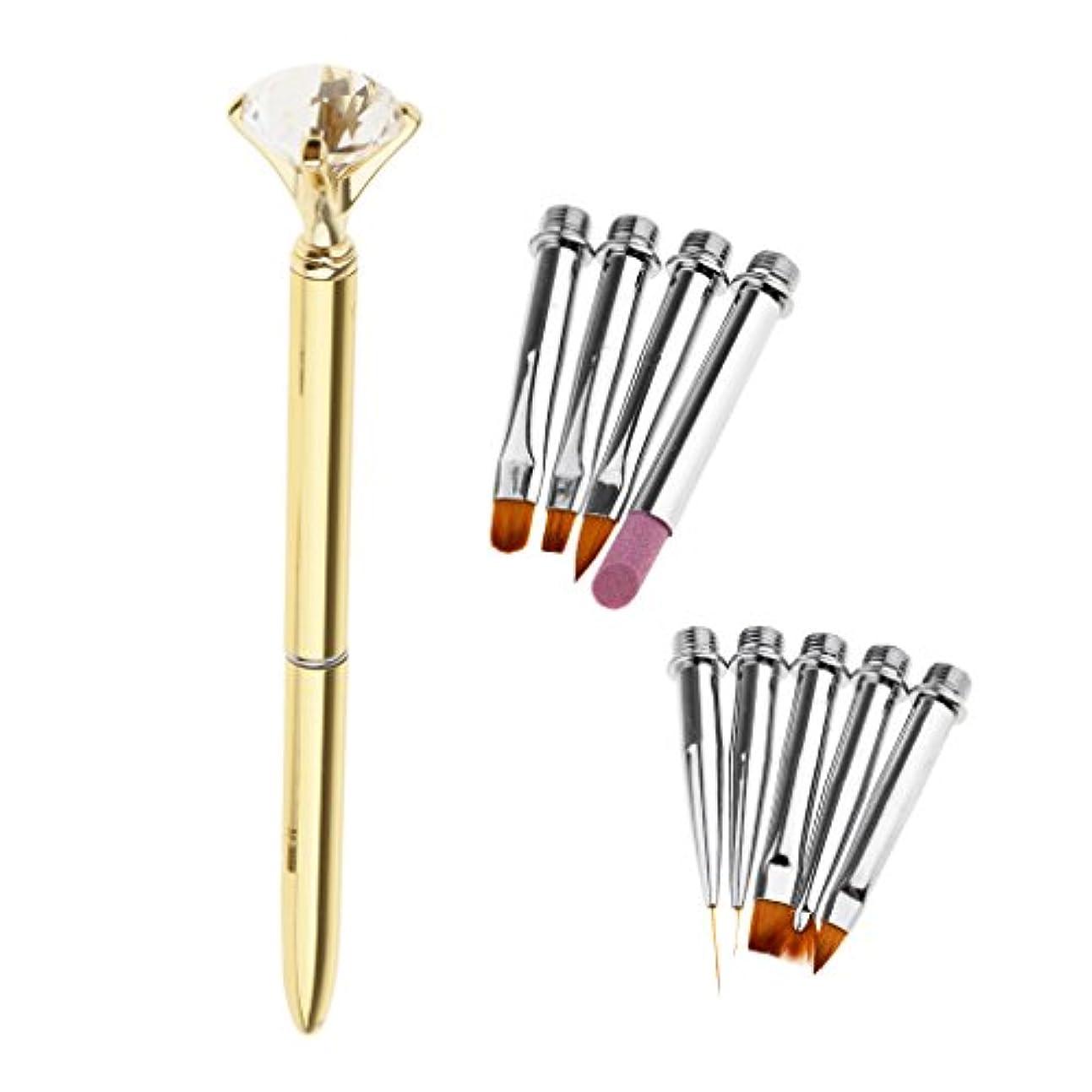 旅行宝石バウンドToygogo サロン用10個のネイルアートライナードローイングペイントブラシヘッドポリッシュマニキュアペン - ゴールド